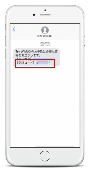 メールと同時にSMSには認証用コードが届きます。