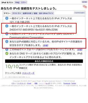 IPv6接続テスト結果