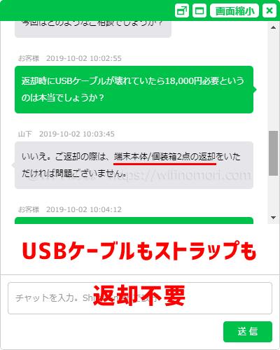 USBケーブルとストラップは返却不要