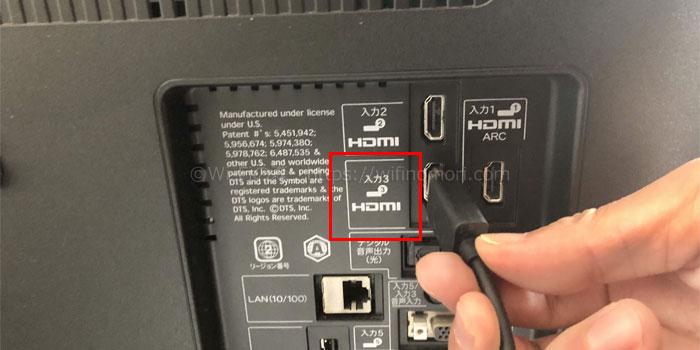 テレビのHDMI端子にFire TV Stickを挿す