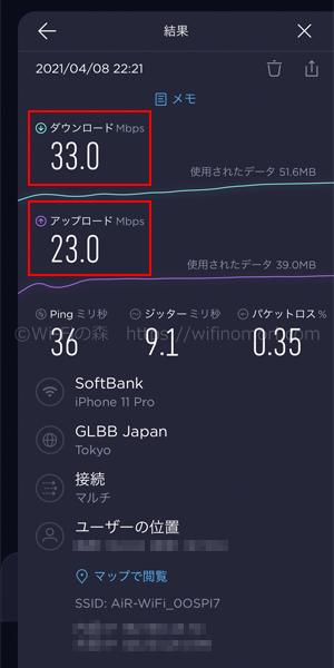 Mugen WiFiの速度
