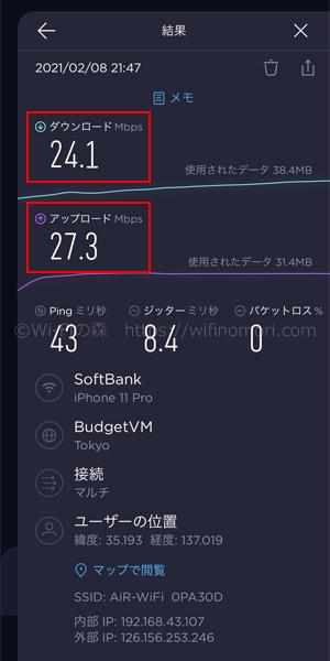 どこよりもWiFiの最新速度結果