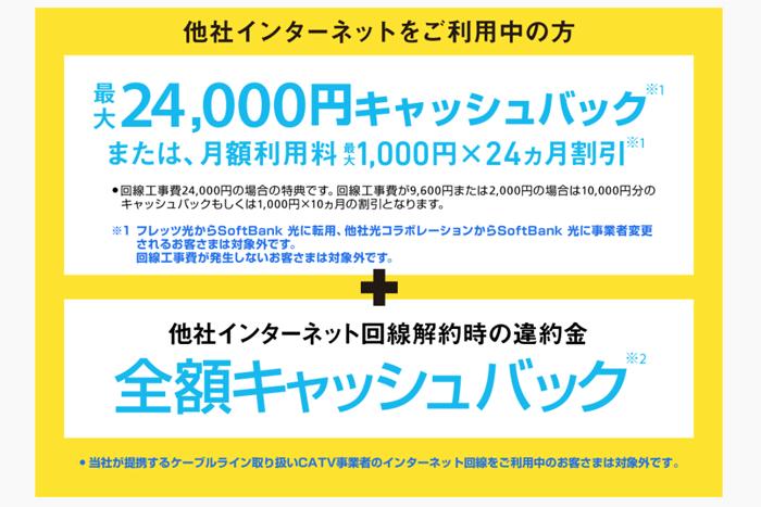 ソフトバンク光には「SoftBank あんしん乗り換えキャンペーン」という特典が設けられており、乗り換えに伴う費用(違約金・工事費の残債)を最大10万円までキャッシュバックしてくれるのです。