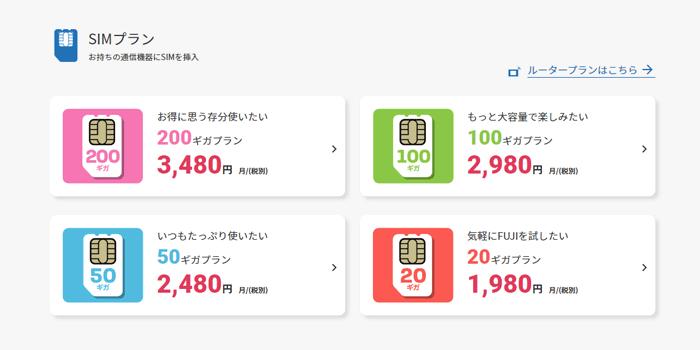 FUJI Wifi(SIMのみ)の料金プラン