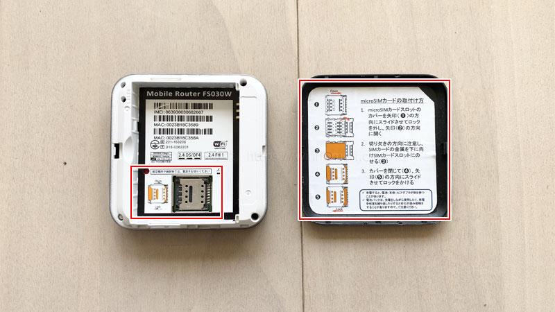FS030WにSIMカードを挿入する