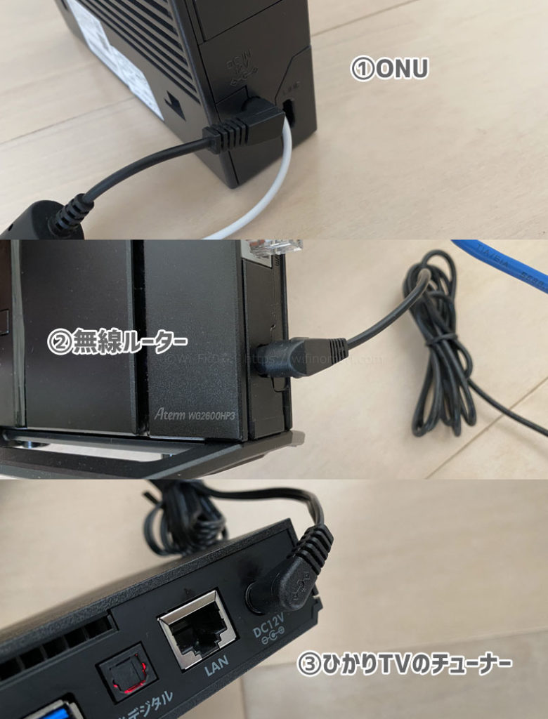 ONU →(1分ほど待ってから)無線ルーター→(1分ほど待ってから)ひかりTVのチューナーの順に電源を入れる