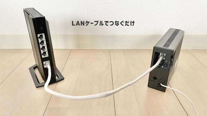 ONUとWiFiルーターをLANケーブルでつなぐ