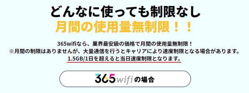 365WiFiは1日1.5GBまで