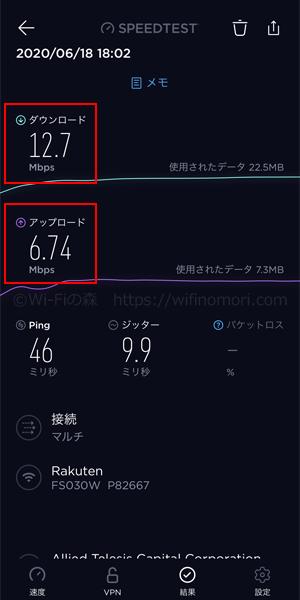 楽天モバイル×FS030Wの実効速度を測定 18時02分