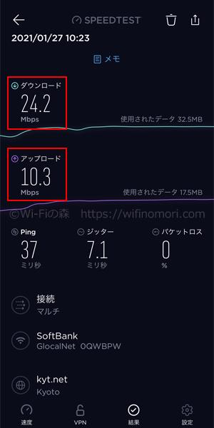 hi-ho Let's WiFi:朝のネット速度(10時台)