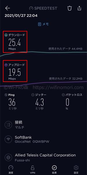 hi-ho Let's WiFi:夜のネット速度(22時台)