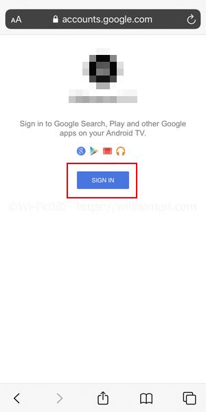 先程まで開いていたブラウザに戻ると「SIGN IN」と表示されているのでタップします。