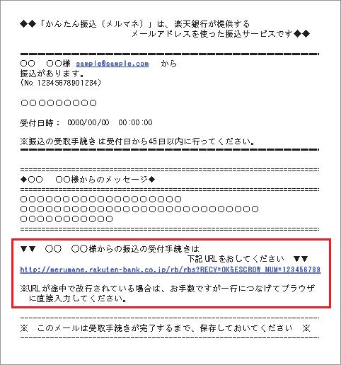 メルマネ送金通知メールのサンプル