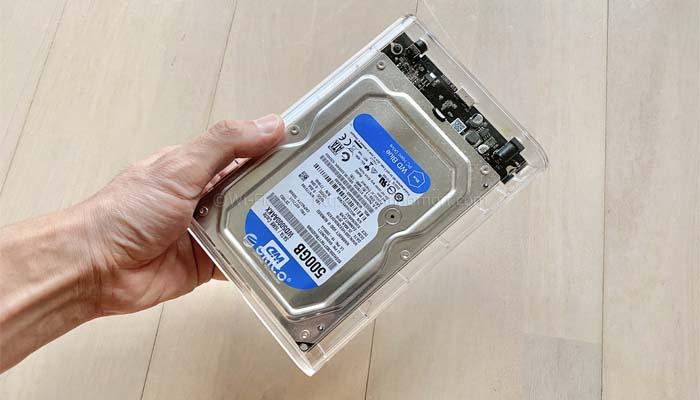 パソコンのHDDを取り出して専用ケースに入れ外付けHDD化する方法