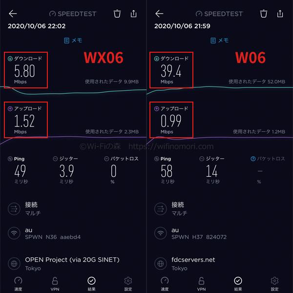 夜の「WX06」と「W06」の測定結果