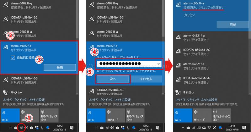 タスクバーのWi-Fiアイコンをクリックし、該当するSSIDをクリックして「次へ」→接続パスワードを入力→Wi-Fiアイコンが表示される