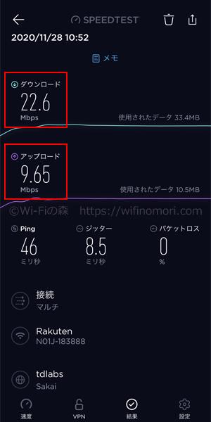 楽天モバイル×N-01Jの実際の速度