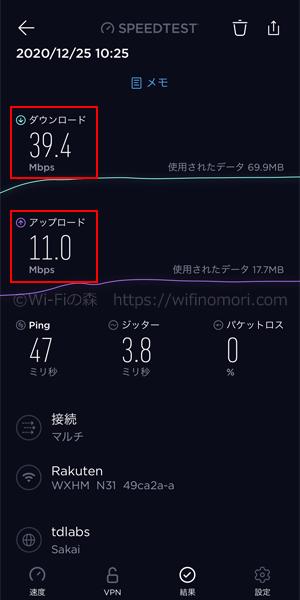 楽天モバイル×HOME 01の実際の速度