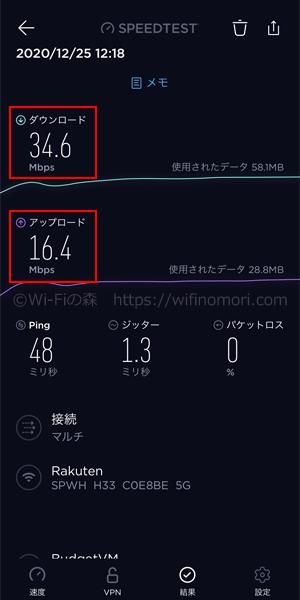 楽天モバイル×L02|お昼12時台の速度