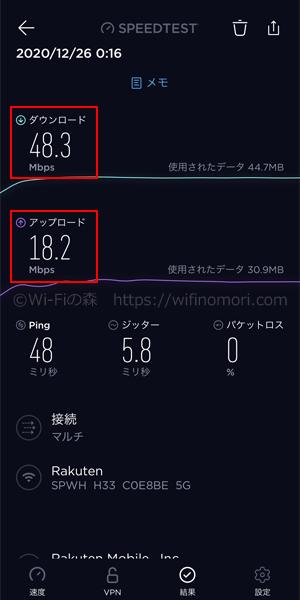 楽天モバイル×L02|深夜0時台の速度