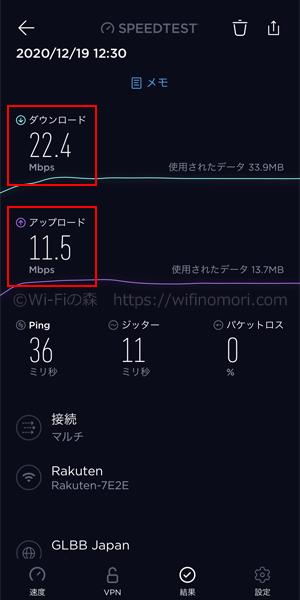 「Rakuten WiFi Pocket」お昼の速度(12時台)