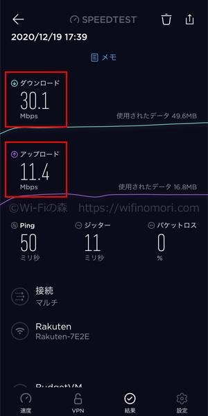 「Rakuten WiFi Pocket」夕方の速度(17時台)