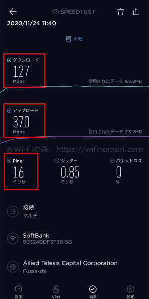 愛知県日進市ソフトバンク光の速度