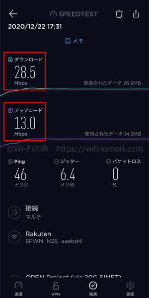 楽天モバイル×WX06の速度:夕方17時台