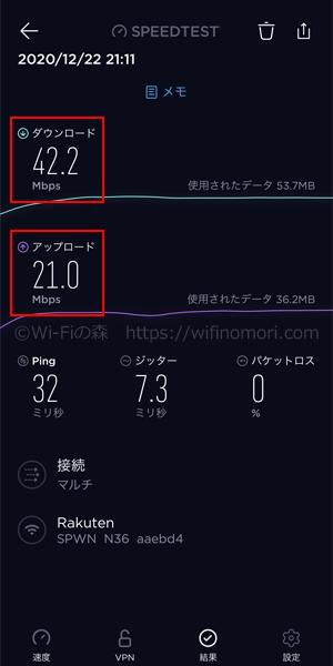 楽天モバイル×WX06の速度:夜21時台