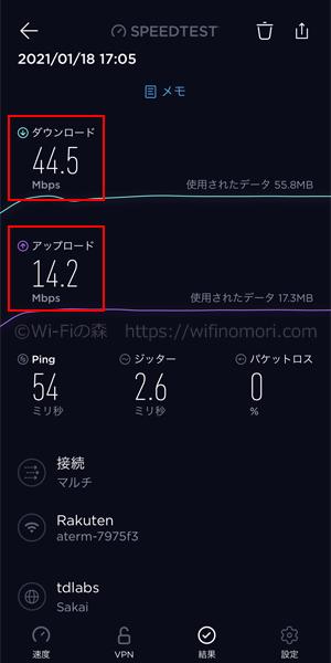 MR04LN×楽天モバイル夕方17時台の速度