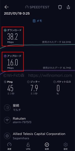 MR04LN×楽天モバイル深夜0時台の速度