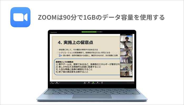 「ZOOM」は、90分の使用で1GBほどデータ容量を使います