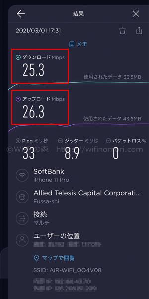 AiR-WiFiの実際の速度「夕方」:午後17時台