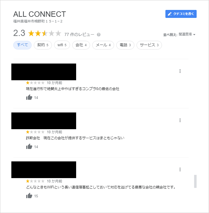 ALL CONNECTの口コミ