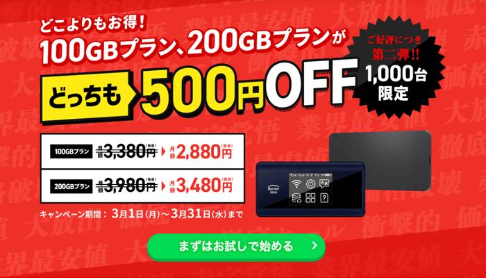 どこよりもWiF500円引きキャンペーン