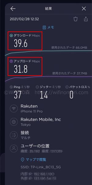楽天モバイル×MR600の実際の速度を検証