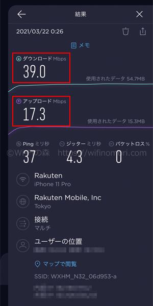 楽天モバイル×HOME 02の実際の速度