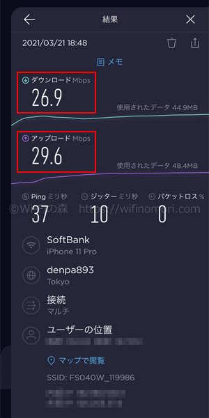 LINEMO×FS040Wの実効速度