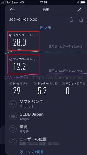LINEMO 午前0時台の速度