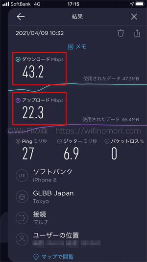 LINEMO 午前10時台の速度