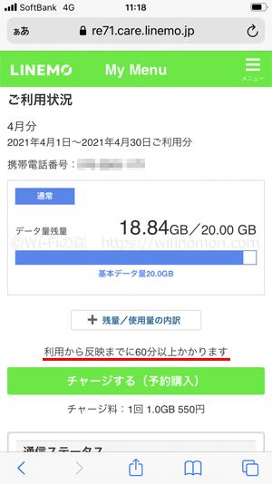 データ容量の利用量はMy menuから確認できる