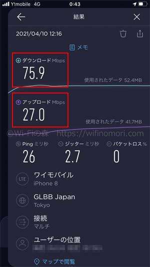 ワイモバイル×iPhone8の実際の速度