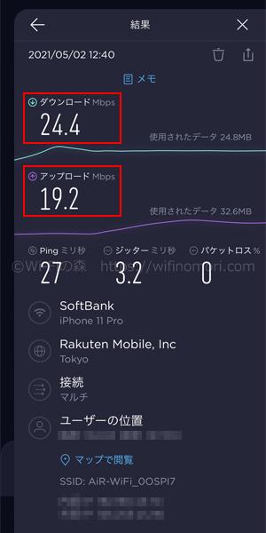 Mugen WiFiお昼12時台の速度